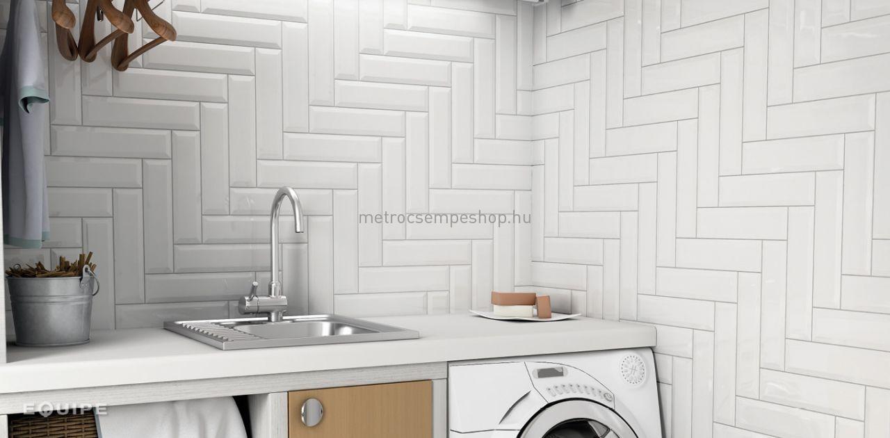 0,96 m2 Equipe 10x30 fényes fehér fózolt metro csempe