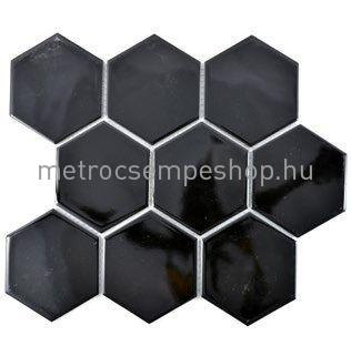 """Fekete fényes """"M"""" hálós HEXAGON mozaik"""